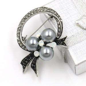 Holiday Box Rhinestone with Pearls Brooch